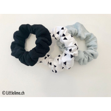 Scrunchie Set triangles schwarz&weiss/mint