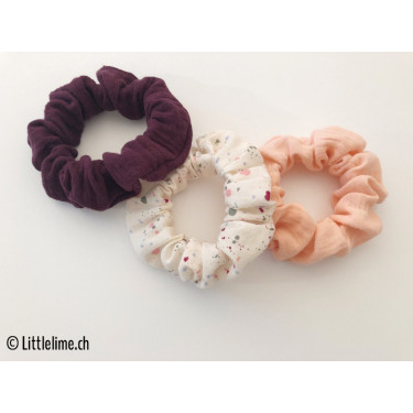 Scrunchie Set splashed creme/aubergine/rosa