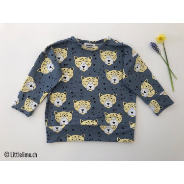 Pullover leopard blue&yellow