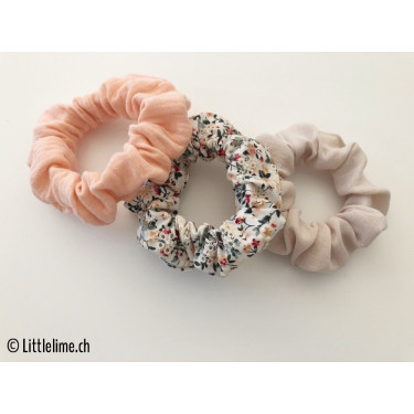 Scrunchie Set flowers creme&apricot