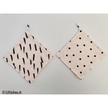 Waschlappen Doppelpack stripes&dots apricot